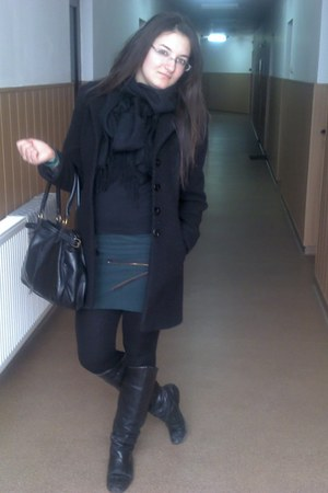 black vintage boots - black H&M bag - dark green homemade skirt