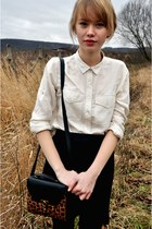 Ann Christine bag - white Levis shirt - black Naf Naf skirt