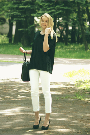 black second hand blouse - black allegro bag - white Bershka pants