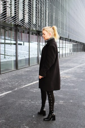 Zara boots - black second hand coat - Bershka pants