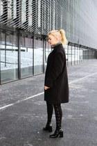 Zara boots - black second hand coat - Bershka pants