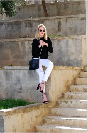pull&bear jeans - Zara sweater - Stradivarius bag - Stradivarius heels