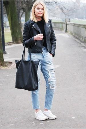 River Island jeans - leather American Eagle jacket - Sinsay bag