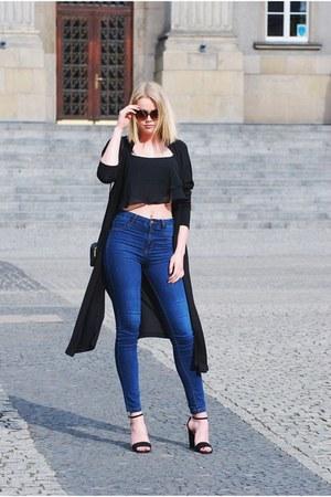 Bershka top - pull&bear jeans - Zara cardigan - Stradivarius heels