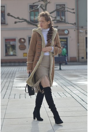 brown sheepskin coat