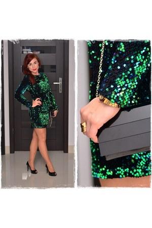 black patent Mohito bag - green sequin Allegropl dress - gold Parfois watch