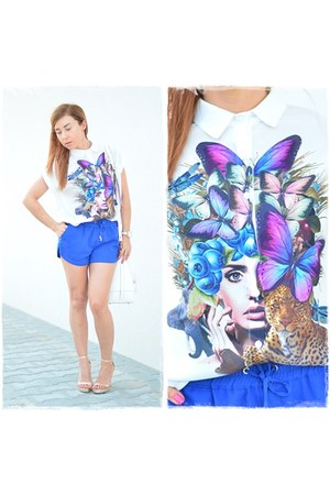 white Sheinsidecom shirt - white Paulina Schaedel bag - blue reserved shorts