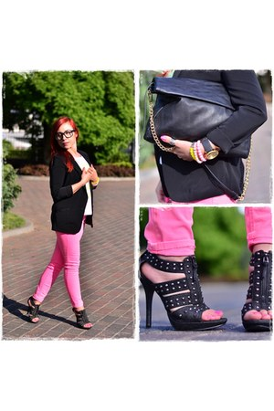 black Pimkie jacket - black Parfois bag - black Parfois watch