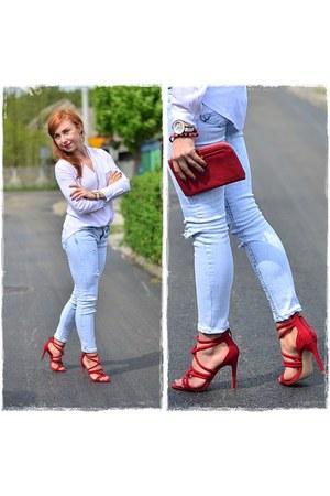 ruby red Zara sandals - light blue Bershka jeans - white Sheinside shirt