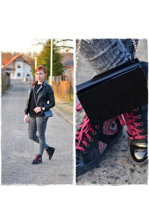 black Bershka jeans - black Pimkie jacket - black Mohito bag
