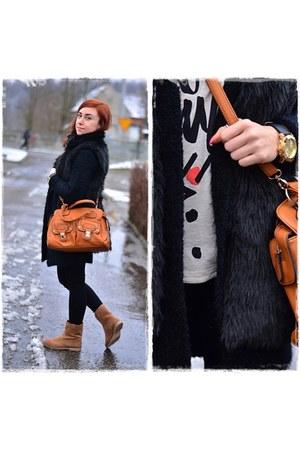black Bershka leggings - camel reserved boots - black Stradivarius vest