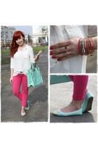 white H&M shirt - aquamarine Atmosphere flats - aquamarine Primark bracelet