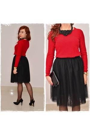 black Parfois bag - ruby red Pimkie sweater - black prima moda heels