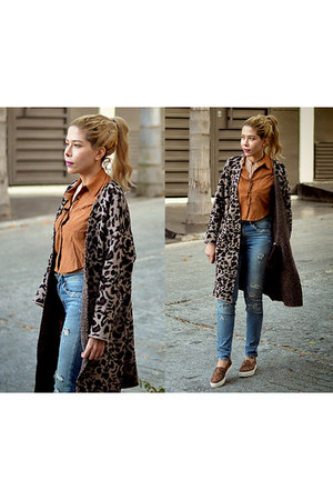 dark khaki leopard romwe coat - light orange shirt Sheinside top