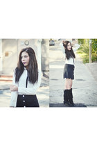 white bow Sheinside blouse - black scalloped Sheinside skirt
