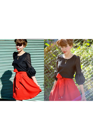black asos shoes - black Sheinsidecom top - red Sheinside skirt