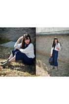 dark khaki studded Alice  Olivia boots - white Zara top