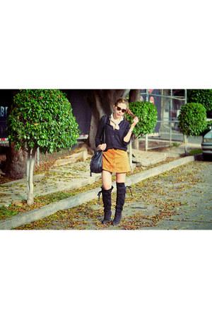 mustard khaki skirt
