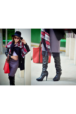 black legging boots Forever 21 boots - black romwe hat