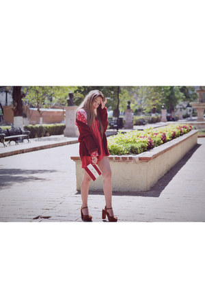 red Sheinside dress - ruby red red Sheinside cardigan