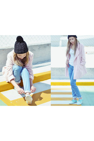 aquamarine Mina Shoes shoes - light pink asos coat - light blue tucane jeans