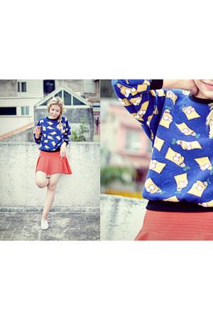 blue simpsons Sheinside sweatshirt - red skater asos skirt - white Keds sneakers