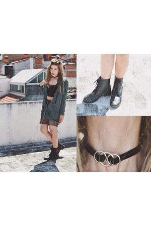 black bergamota shoes boots - black romwe jacket - black romwe skirt