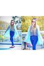 Light-blue-romwe-coat-blue-bershka-jeans-black-pull-bear-sweater