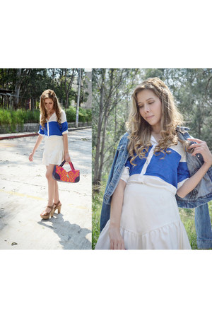 white asos skirt - blue Linio shirt - amethyst ethnic Chulel bag