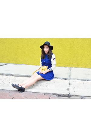 blue H&M dress - black H&M hat - navy American Eagle jacket