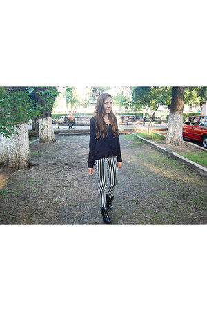 black Bershka shirt - black striped c&a pants
