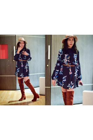 navy floral Sheinside dress - tawny Zara boots
