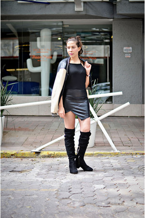 black leather Sheinsidecom dress