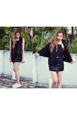 black Sheinsidecom top - black She Inside skirt - white Keds wedges