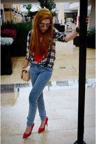 light blue cya jeans - red plaid Pull and Bear blouse