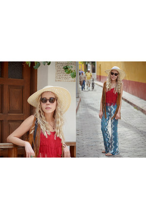red fringed romwe top - light blue flares Forever 21 pants
