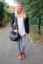 black Naf Naf blazer - heather gray Pimkie jeans - black Givenchy bag
