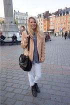 black Golden Goose boots - white H&M jeans - neutral Oakwood jacket