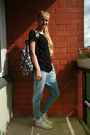Zara-jeans-backpack-sportland-bag-diy-skull-back-second-hand-t-shirt