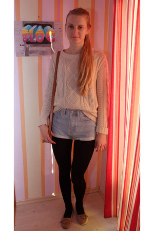 Cubus sweater - high waisted Bik Bok shorts - moccasins thrifted loafers