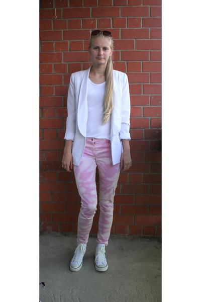 tie dye Naf Naf pants - Cubus blazer - Promod sunglasses - Promod top