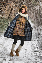 leopard sweater - house boots - coat - hat - reserved socks
