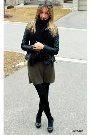 dark green Michael Kors dress - black danier jacket