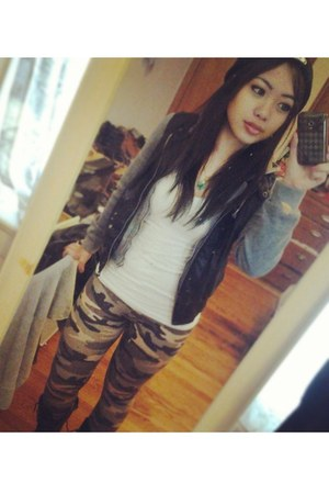 camo Forever 21 leggings - leather knit polo club jacket