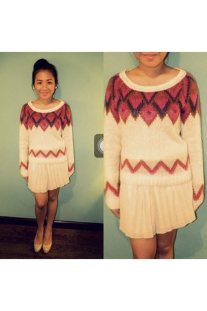 hot pink cotton on sweater - ivory pleated skirt Forever 21 skirt
