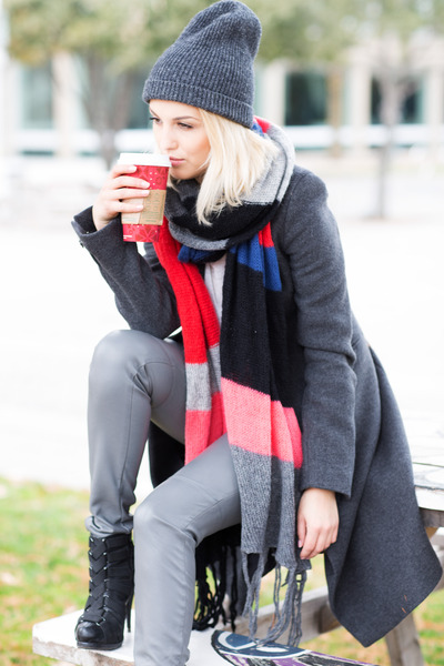 leather Steve Madden boots - Zara coat - H&M scarf