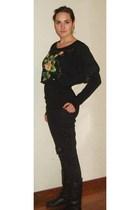 black My neighbours top - black H&M shirt - black H&M pants - black boots