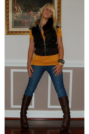 Wet Seal shirt - Charlotte Russe vest - jeans - shoes - Forever 21 accessories -