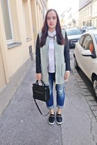black Mango bag - fluffy Zara coat - navy boyfriend jeans Pimkie jeans