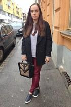 black H&M coat - light purple Primark sweater - Primark bag